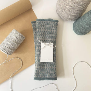 That Lovely Weekend Mittens Caspian & Light Grey Fingerless Mittens - 100% Lambs Wool