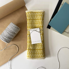 Load image into Gallery viewer, That Lovely Weekend Mittens Ecru & Picalili Fingerless Mittens - 100% Lambs Wool