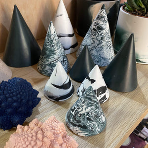 Tip Studio Cones Small cone - Green/White Swirl Jesmonite Cones  (various sizes and patterns)
