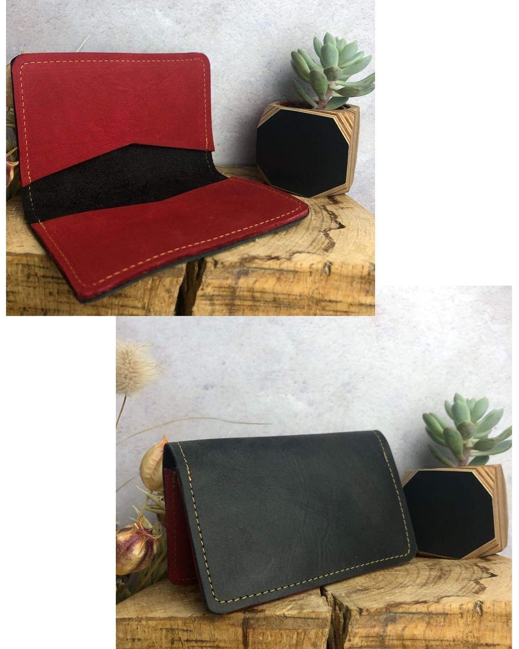 Zoe Dunn Designs Purse / Wallet Black / Ruby Card wallet/holder - soft leather