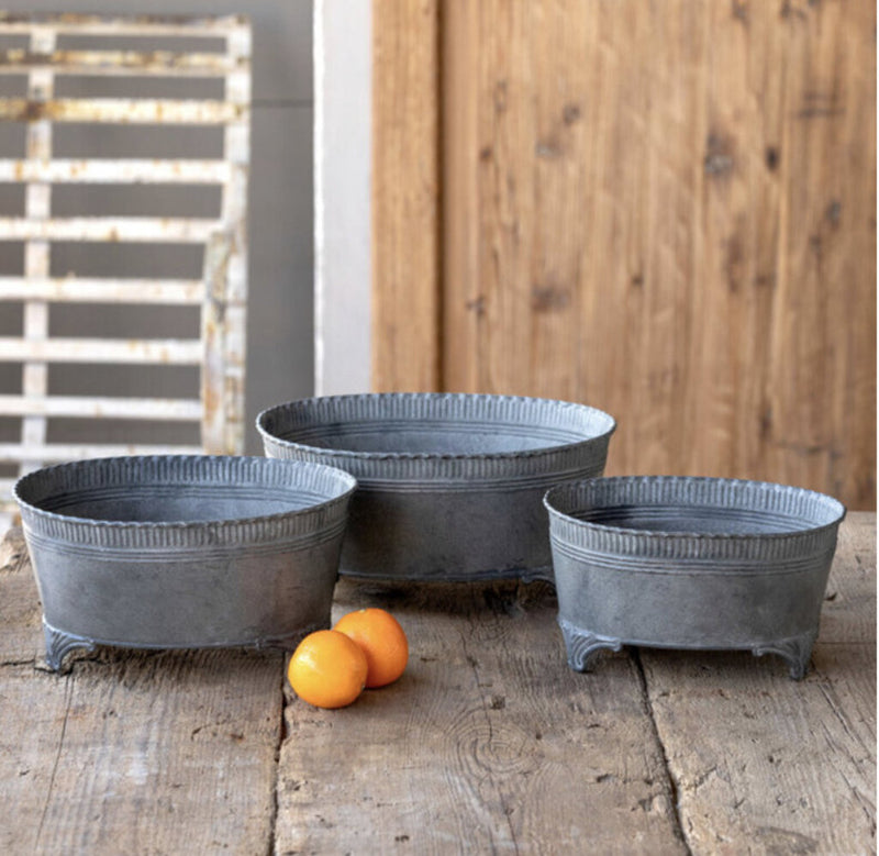 Footed Tinwork Embossed Planters, set of 3