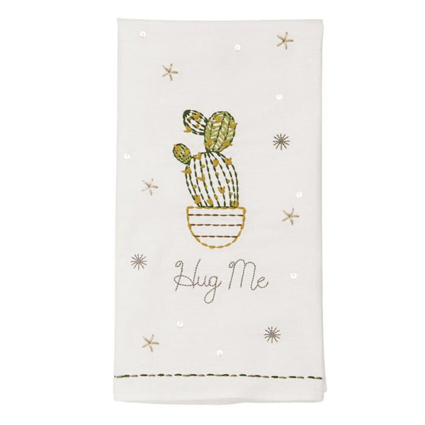 Mud Pie Embroidered Hug Me Hand Towel