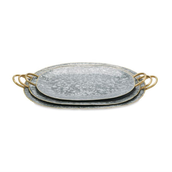 Mud Pie Medium Tin Oval Tray