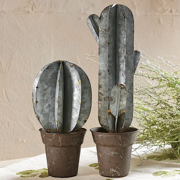 Mud Pie Tall Tin Potted Cactus