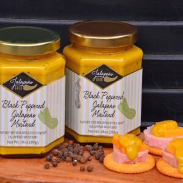 Jalapeno Gold Jalapeno Mustard Slightly Sweet Black Peppered Mustard 10oz