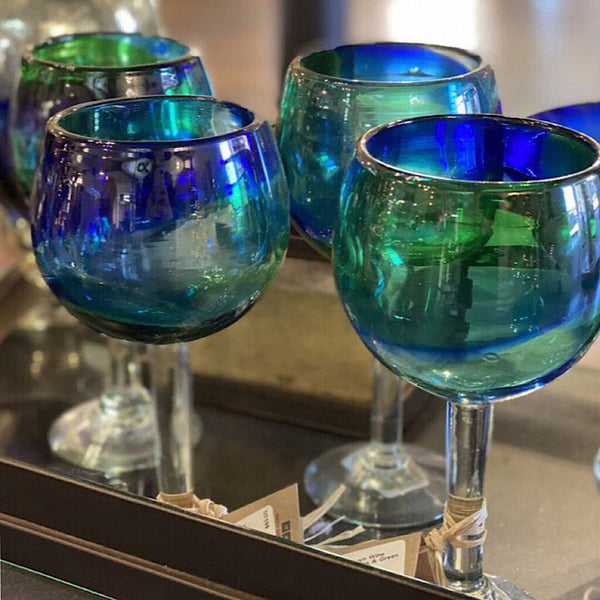 Jan Barboglio Wine Goblet w/Blue & Green Swirl
