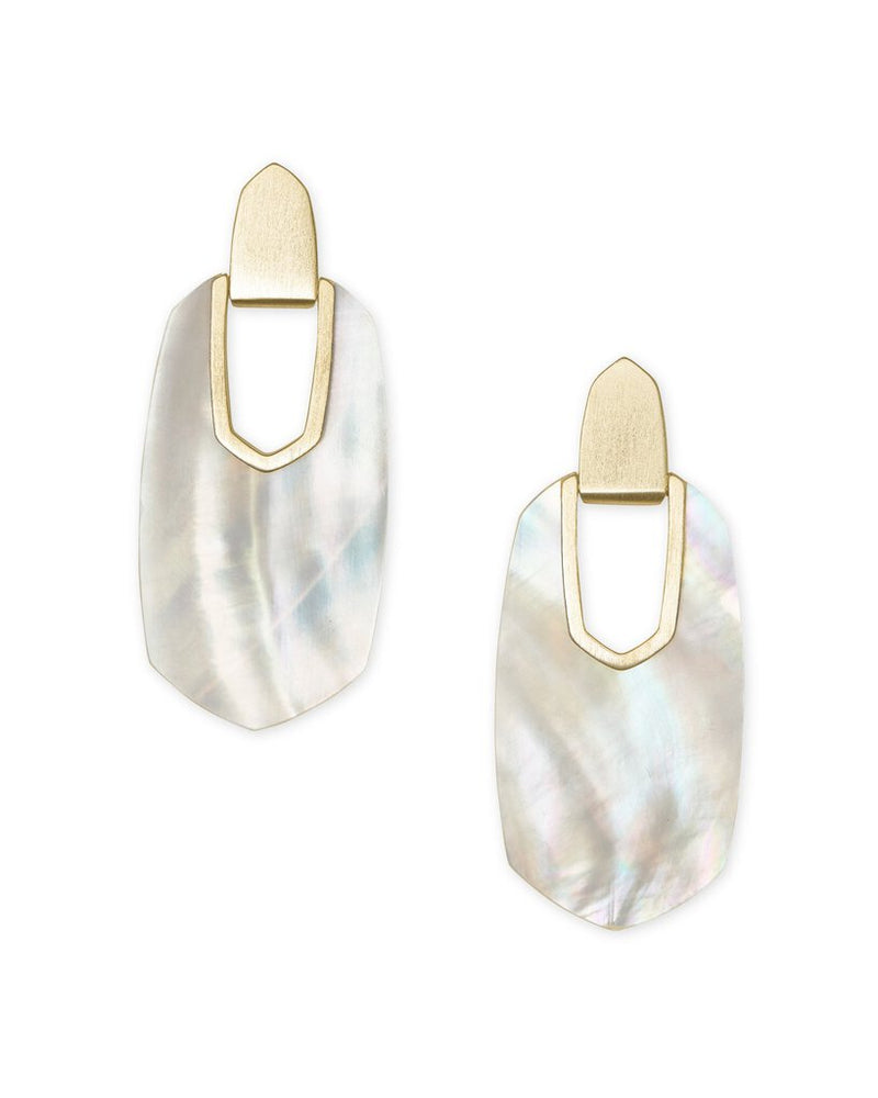 Kendra Scott Kailyn Gold Statement Earrings In Ivory Mother-Of-Pearl