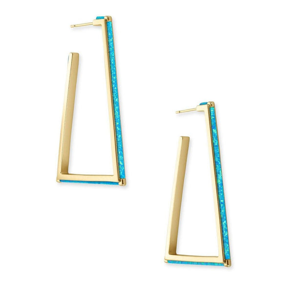 Kendra Scott Easton Gold Hoop Earring in Turquoise Kyocera Opal