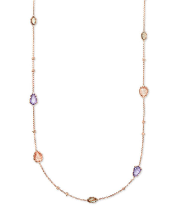 Kendra Scott Gwenyth Rose Gold Long Strand Necklace In Blush Mix