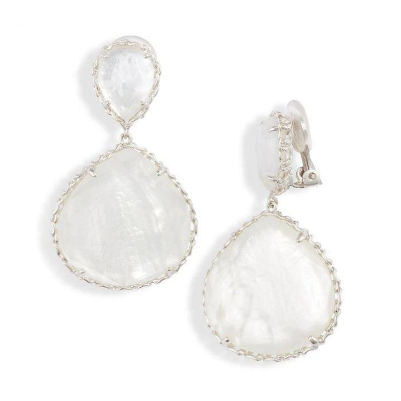 Kendra Scott Silver Kenzie Clip On Earring in Ivory Mother of Pearl