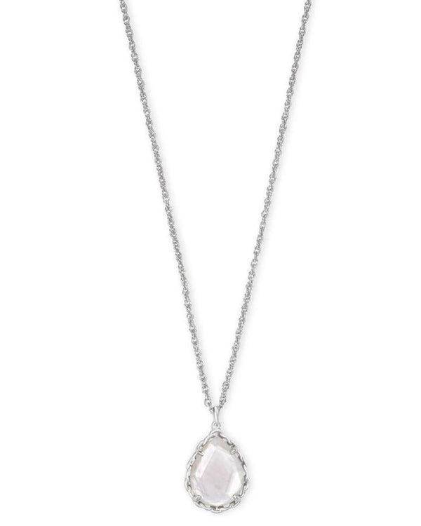 KENDRA SCOTT MACRAME DEE SILVER PENDANT NECKLACE IN IVORY MOTHER OF PEARL