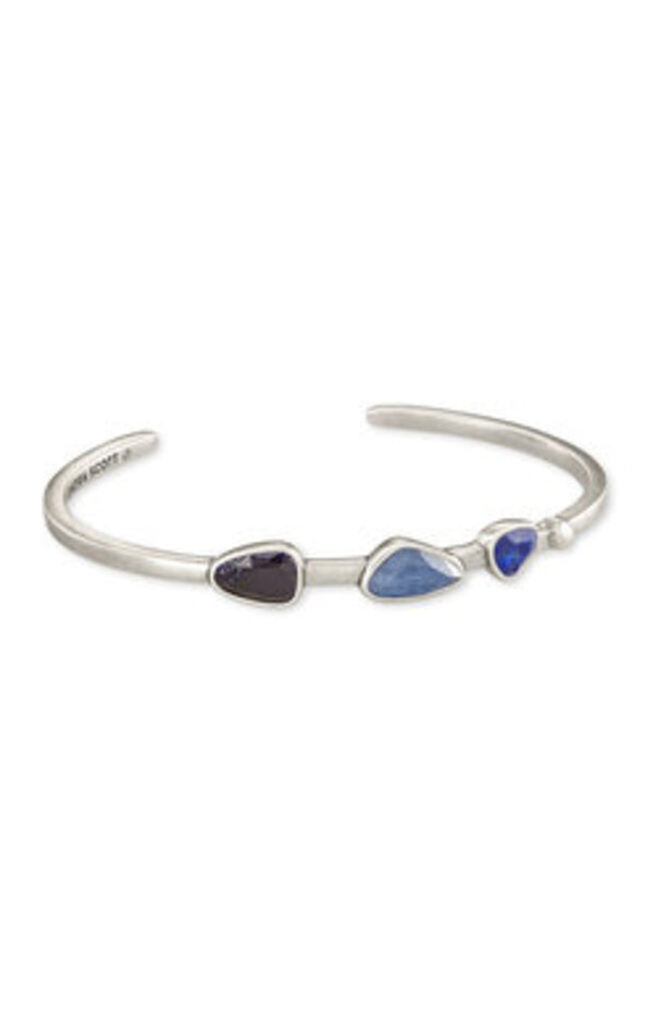Ivy Silver Cuff Bracelet in Navy Mix