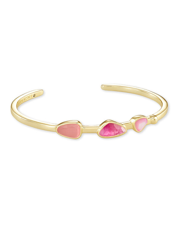 Ivy Gold Cuff Bracelet in Deep Blush