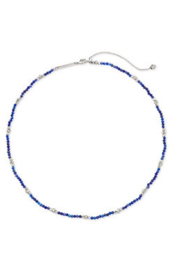 Scarlet Choker Necklace in Rhod Blue Lapis