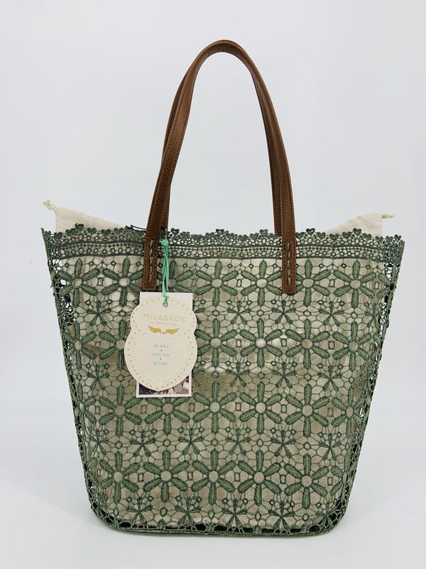 Holbox Lace Tote - Moss