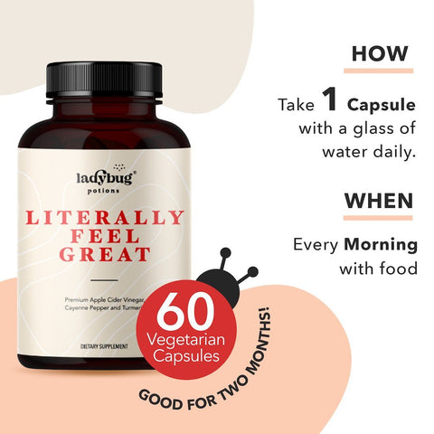 Ladybug Potions® Literally Feel Great Pack x 2 - ACV, Turmeric, & Cayenne Pepper