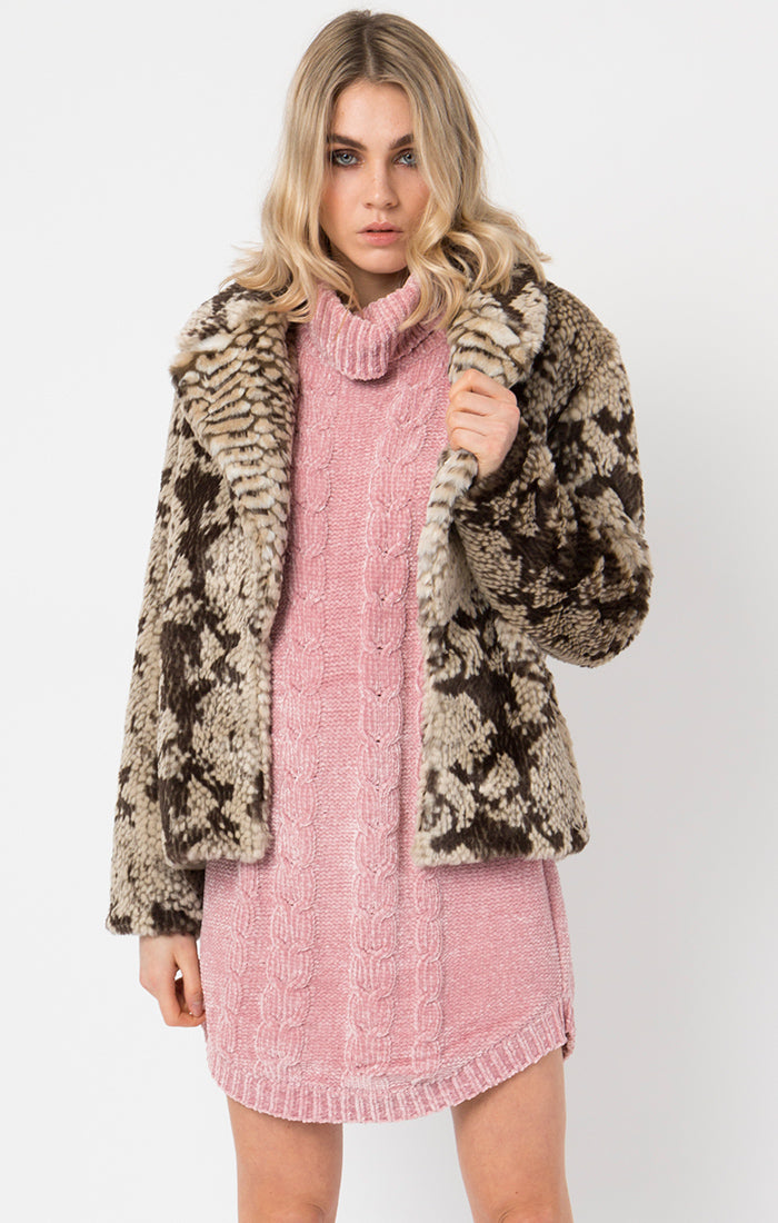 SNAKESKIN FAUX FUR COAT