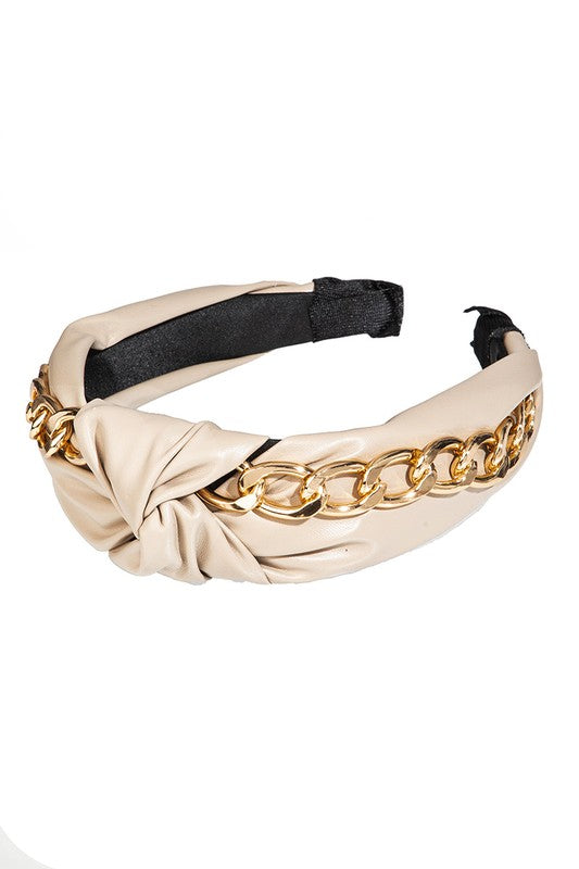 HEADBAND FAUX LEATHER CHAIN