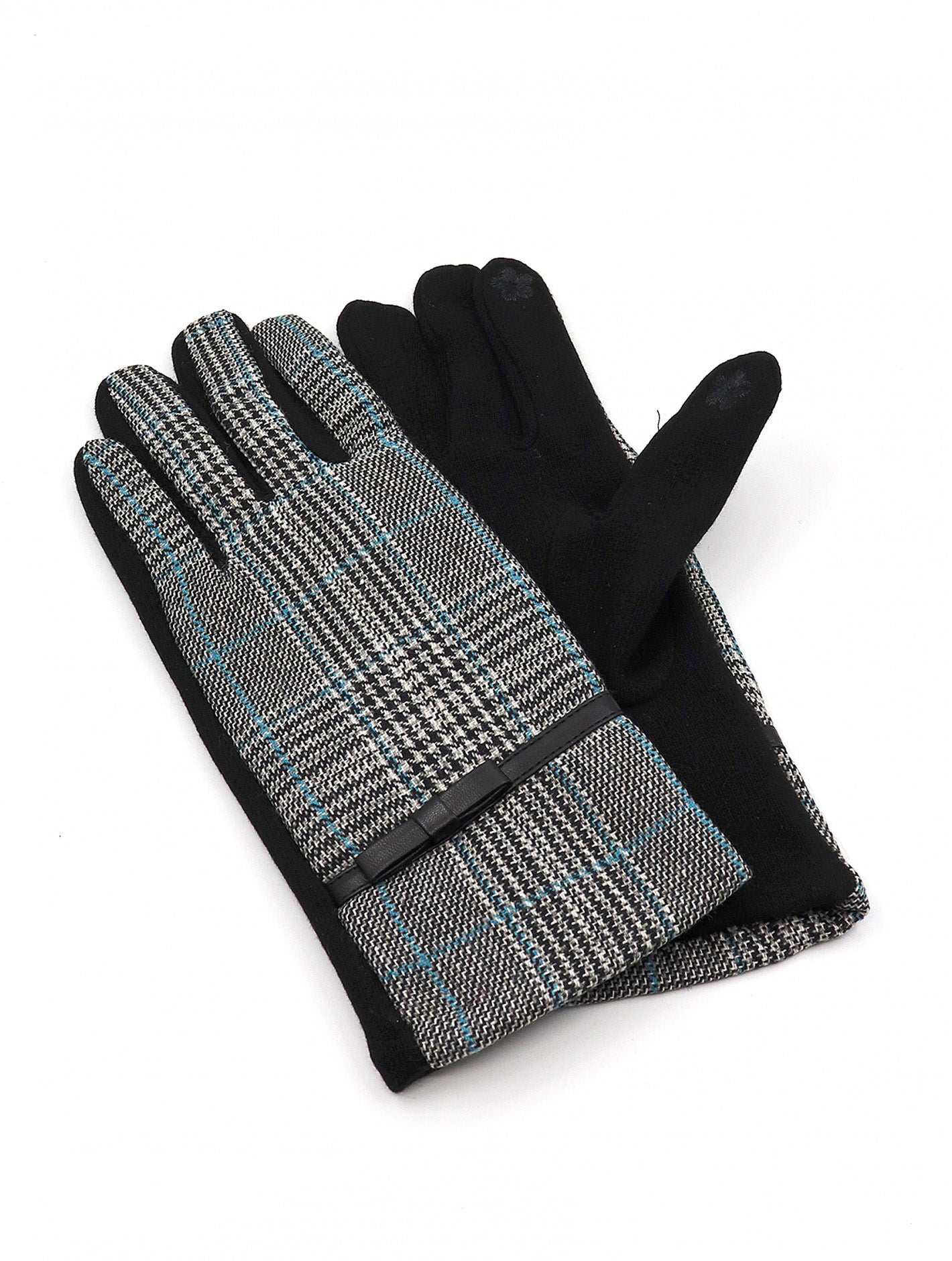 HOUNDSTOOTH GLOVES W/BOW