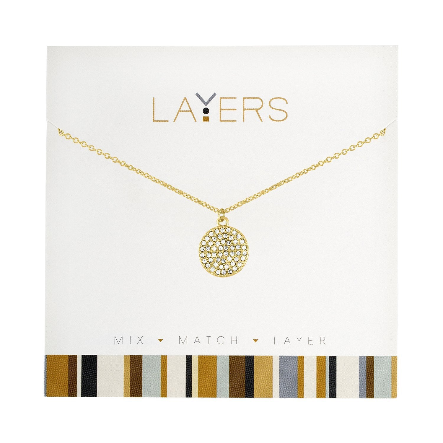 LAYERS NECKL GOLD CIRCLE CZ