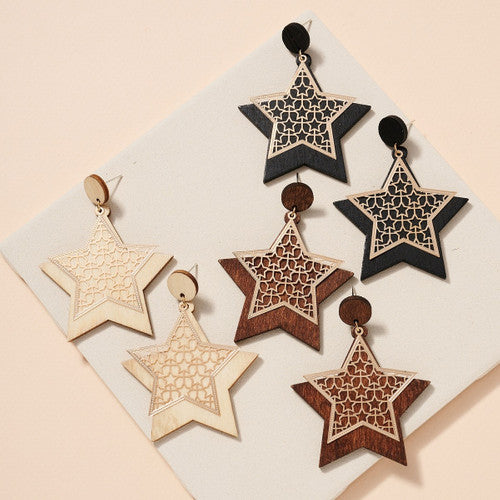 WOODEN STAR EARRING