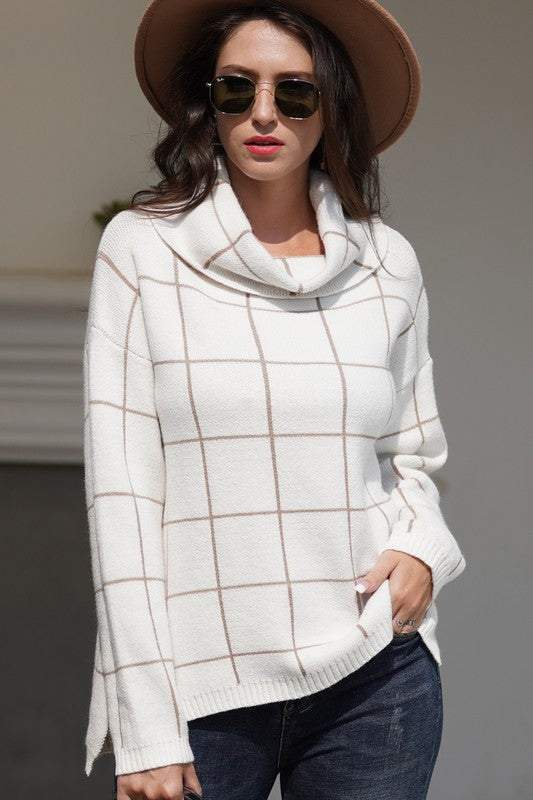 SWEATER WITH LARGE GRID PRINT
