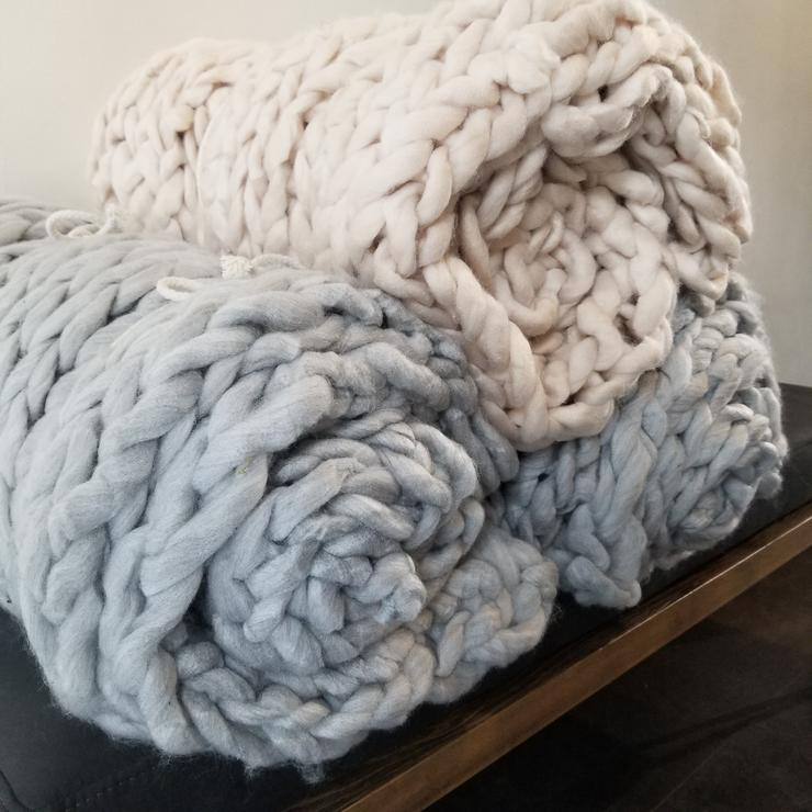 BLANKET CHUNKY KNIT NORDIC LIGHT GREY