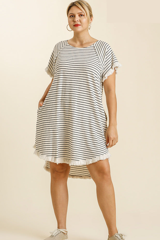 A LINE DRESS STRIPED