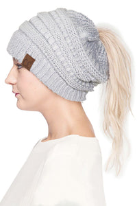 SILVER PONYTAIL TOQUE