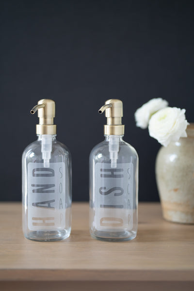 Clear Glass Etched Label Classic Hand Soap or Dish Soap Dispenser Collection