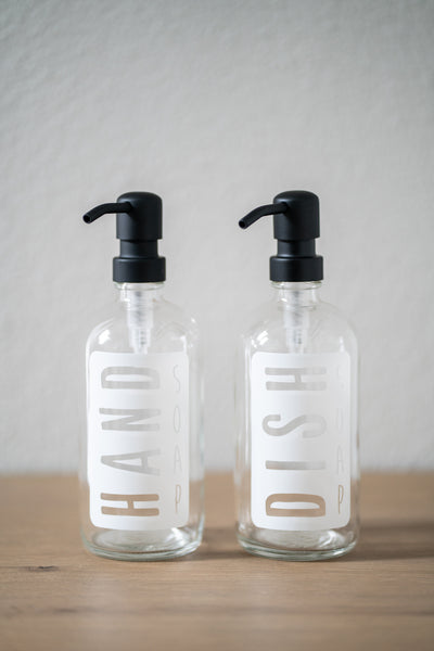 Imperfect Clear Glass Classic White Hand Soap or Dish Soap Dispenser