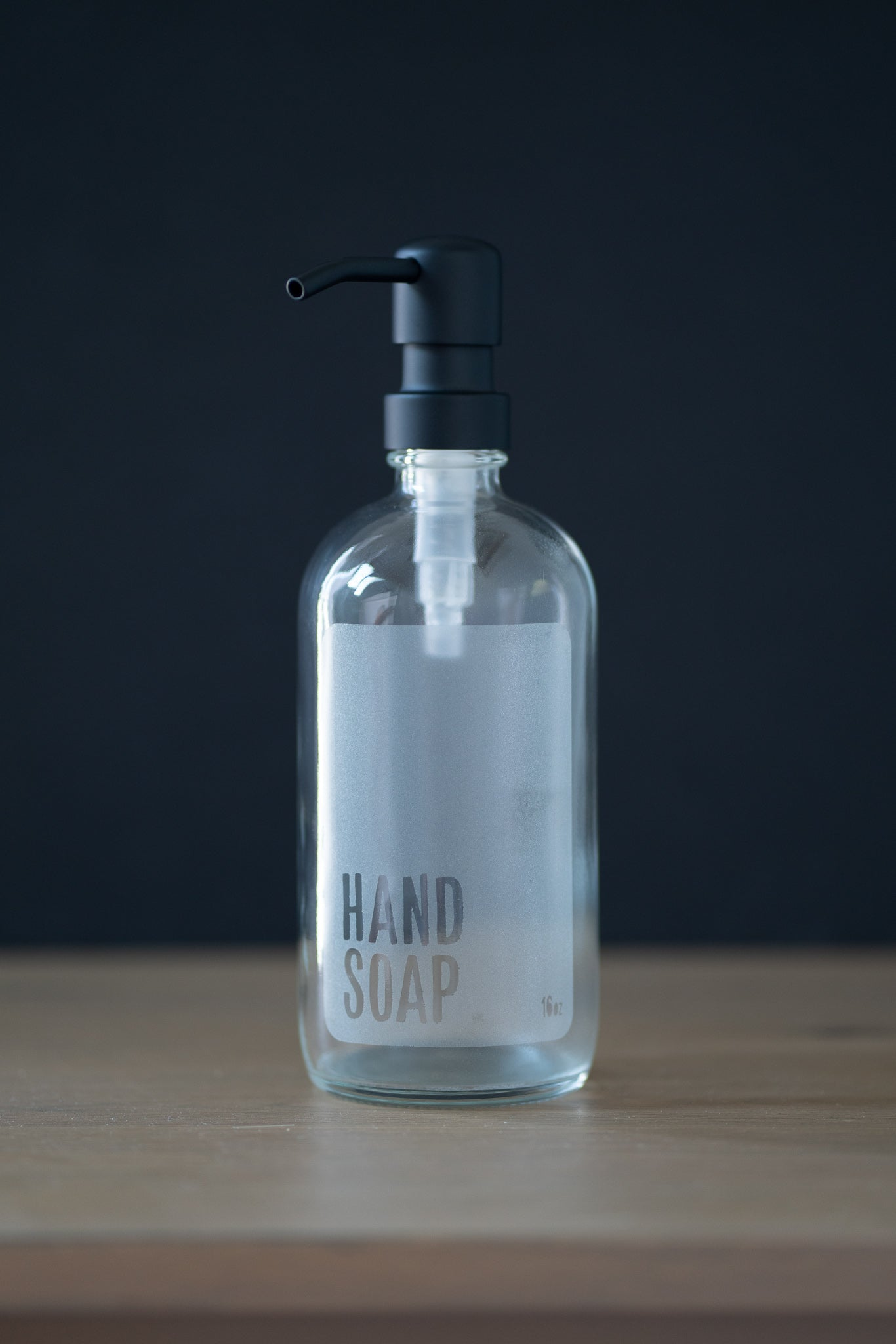 Clear Glass Laser Etched Modern Hand Soap or Dish Soap Dispenser Collection