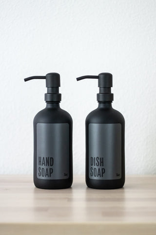 Imperfect Matte Black Glass Modern Hand Soap or Dish Soap Dispenser
