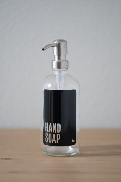 Clear Glass Modern Hand Soap, Dish Soap, Soap or Lotion Dispenser