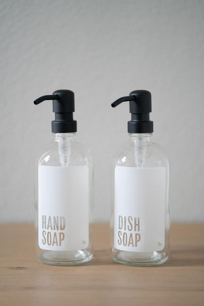 Clear Glass Modern White Hand Soap, Dish Soap, Hand Sanitizer Dispenser Collection