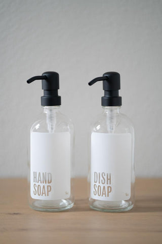 Clear Glass Modern White Hand Soap, Dish Soap Dispenser Collection