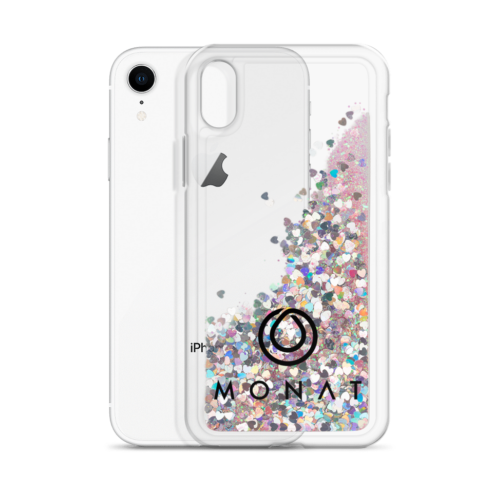 Monat Liquid Glitter Phone Case Black Logo
