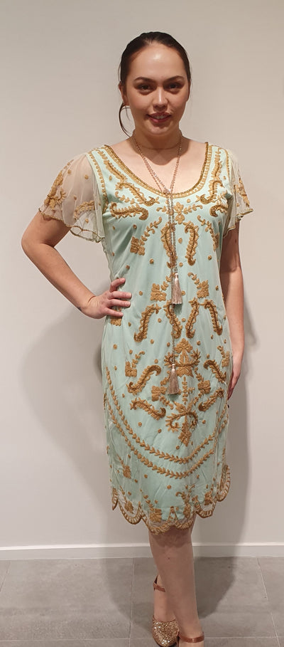 Pretty mint and gold detailing make this Gatsby style dress perfect for daywear at Art Deco or High Tea with friends. It is light and with a bit stretch for ease and comfort. Available in Med Also in Black and gold