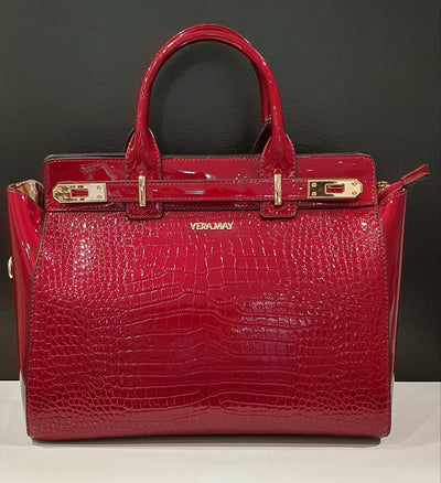 Ester by Vera May is a faux croc large handbag,with pockets inside and out as well as long strap.   This is a great, everyday stylish handbag, for women who like to have most things in their handbag!