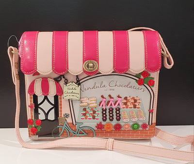 Vendula Chocolatier Box bag, with it's great pinks and cupcakes, even a vintage bicycle.  Love this range.   Vendula are vegan approved and Limited editions, so getting one is a must for those collectors.   Choosing the right one can be difficult as they all have such adorable features.
