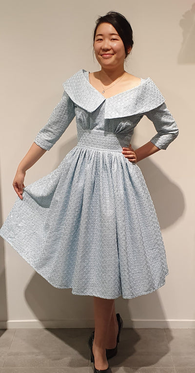 Contessa by Vintage Addiction is a one off exclusive dress. It  has been created using stunning, original Vintage fabric. Pale blue with a little sparkle, so very feminine.   This would make the  perfect dress for a very special occasion, size 8