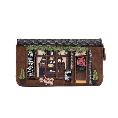 Vendula Winter Cafe large zip around wallet by Vendula is a perfect size for those who love to carry everything in the their wallets.   With many card and note departments as well space for the coins this wallet offers some gorgeous and fun details. A perfect gift  idea, or a nice change from the ordinary purse!!  These are vegan approved and are a limited edition.