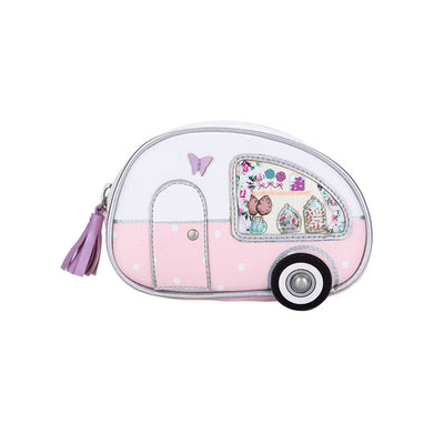 Sweetie Caravan Zipped Coin Purse by Vendula, super adorable for all those retro caravan lovers, this is for you! Curtains on the windows, and the shape.   Vegan approved with lovely stitched details, a real gem, perfect gift or just add to your already amazing Vendula collection.