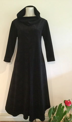 Capel dress - black fine stretch corduroy