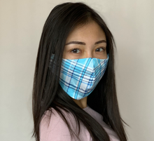 "Load image into Gallery viewer, Sewn Mask (""Blue Plaid"", Cotton Lining)"