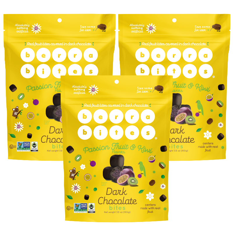 Passion Fruit & Kiwi Dark Chocolate Bites (Pack of 3)