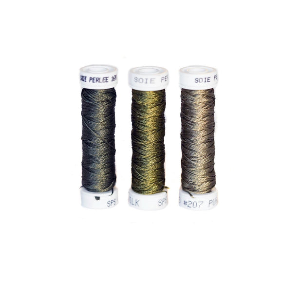 Au Ver à Soie ® Soie Perlee Silk Thread Kit - Army Green