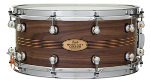 "Pearl Music City Custom Solid Walnut 14""x6.5"" Snare Drum w/Inlay NATURAL W/BOXWOOD-ROSE TRIBAND INLAY MCCW1465S/C1004"