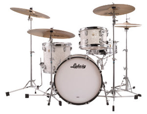 "Ludwig 20"" Classic Maple DOWNBEAT White Marine Drum Shell Pack L84023AX0P"