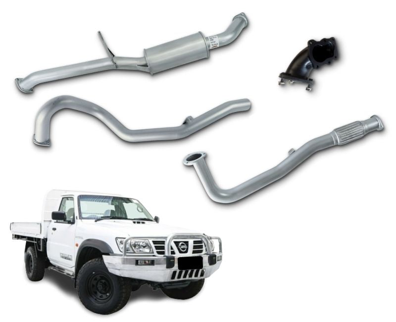 "3"" Turbo-Back Stainless Steel Exhaust System for 4.2lt Turbo Diesel Nissan Patrol GU Ute Y61 - Leaf Rear Spring ONLY (1997 - 2007 Models) – Beast Unleashed Performance Exhausts"